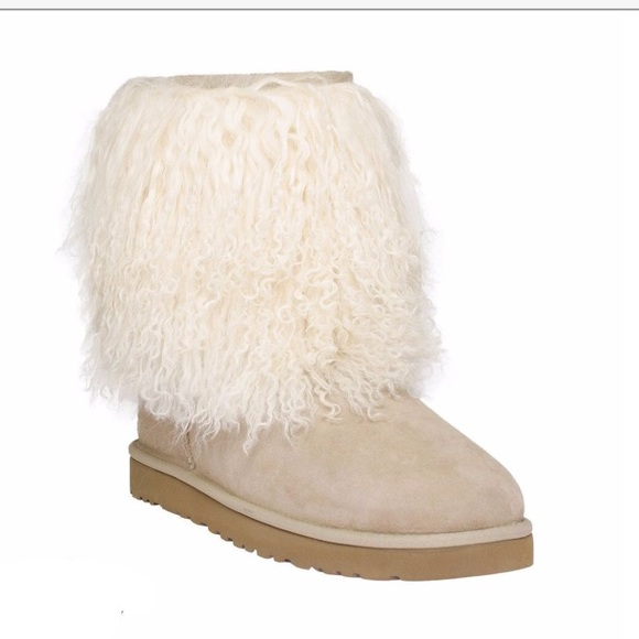 ugg shoes mongolian fur sheepskin cuff boots natural poshmark rh poshmark com